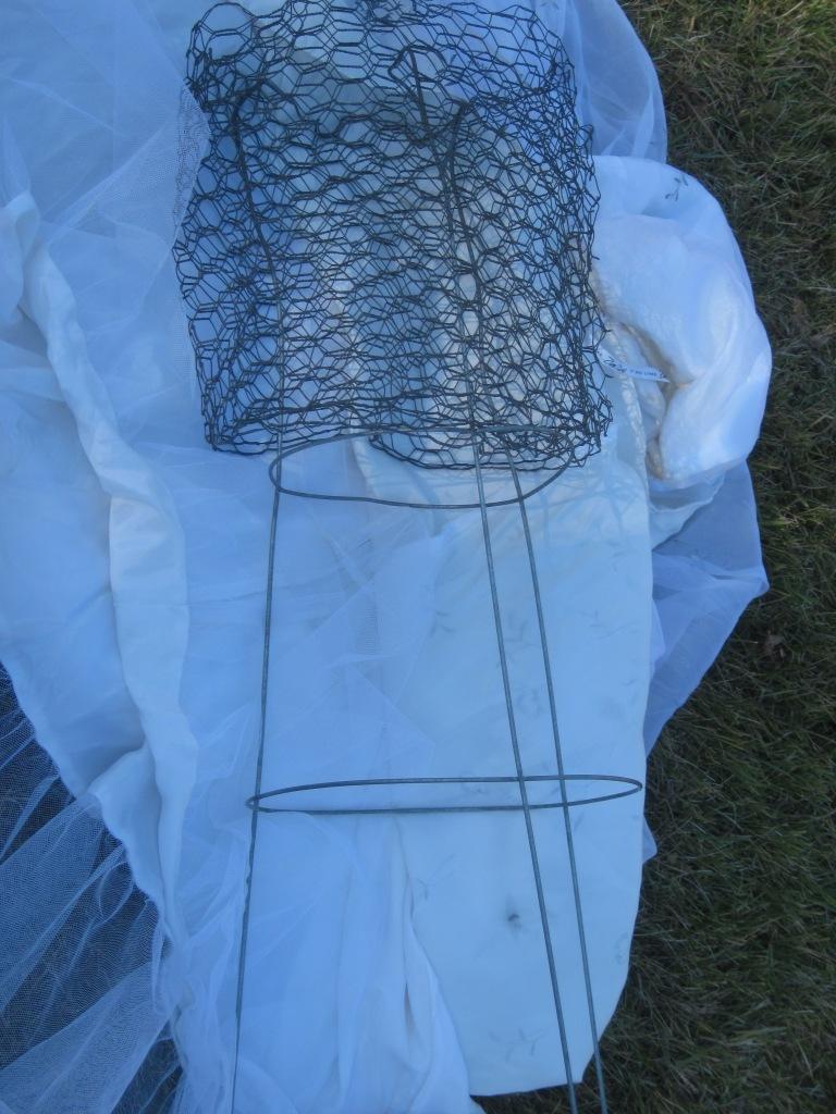 tomato cage, chicken wire, wedding dress ghost