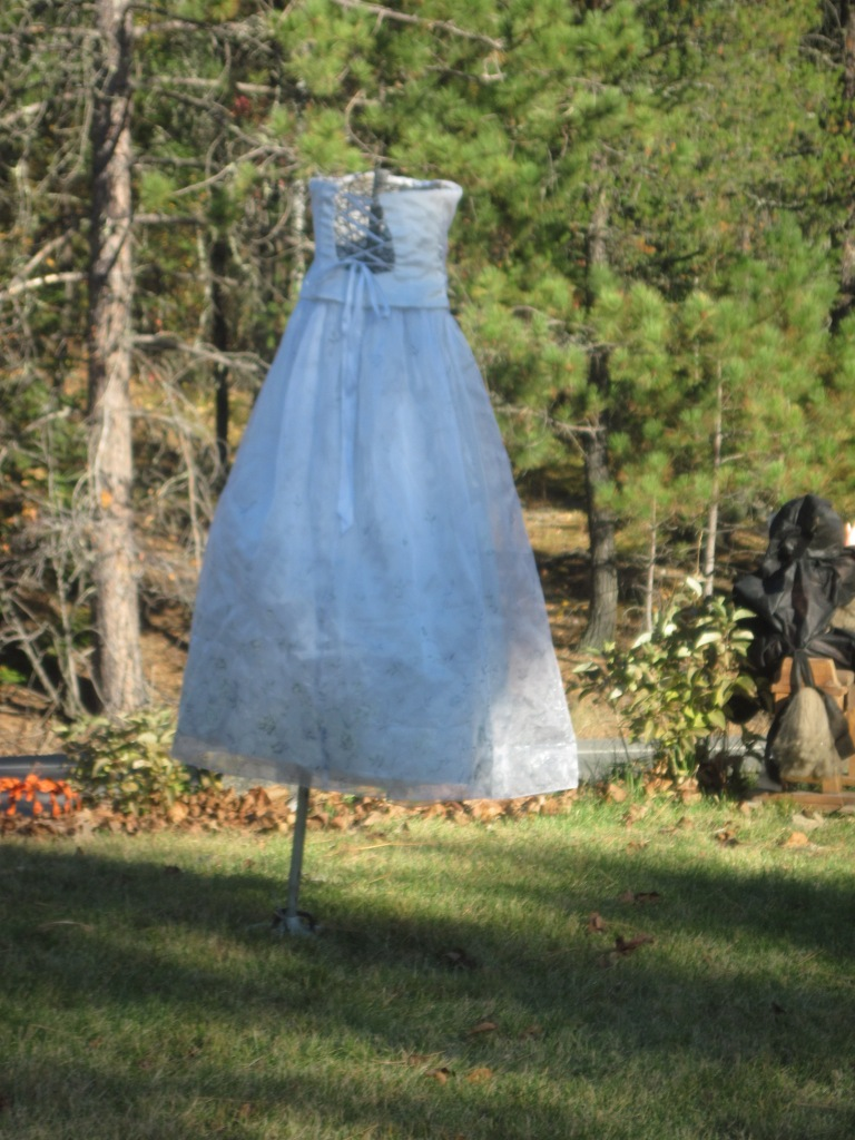 tomato cage, chicken wire, wedding dress ghost