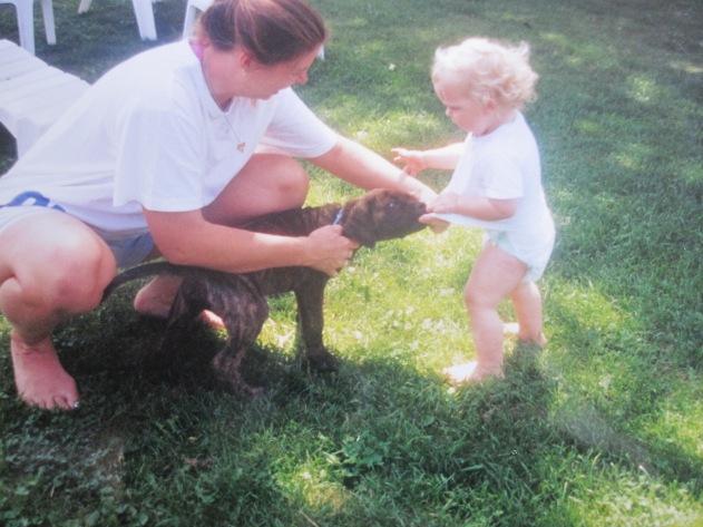 baby and mastiff puppy