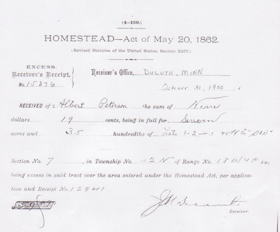 Homestead Act Receipt