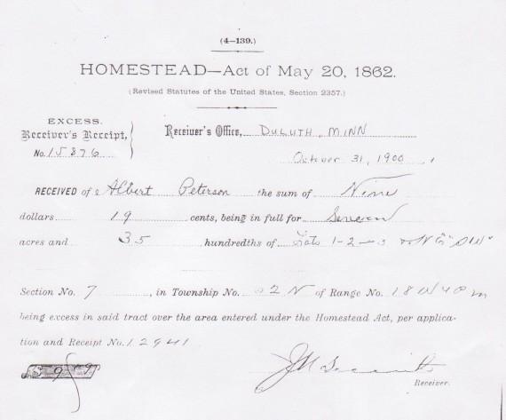 Homestead Act Receipt