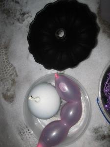 Ice Marbles/Gems, balloons, ice candle ring, bundt pan, cake pan