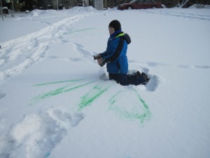 food coloring, snow