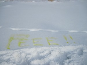 writing in snow